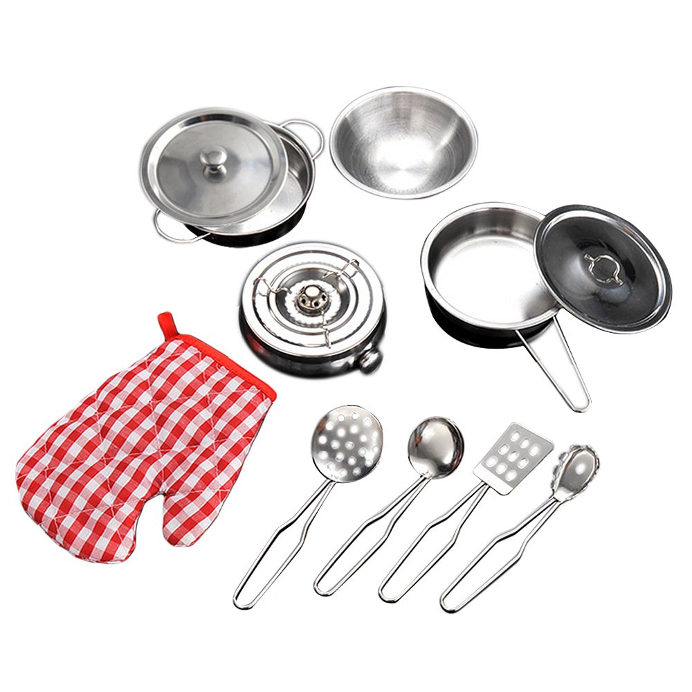 Gosear 11 PCS Stainless Steel Kids Simulation Pots Pans Spoons Cookware Kitchen Toy Kitchen Pretend Playset Role Play Toy Kit