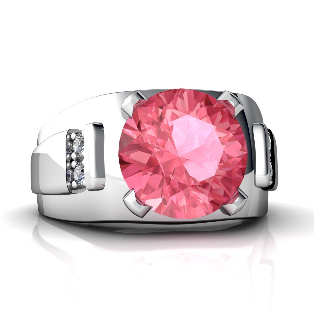 14kt Gold Lab Pink Sapphire and Diamond 9mm Round Men\'s Ring|Amazon.com