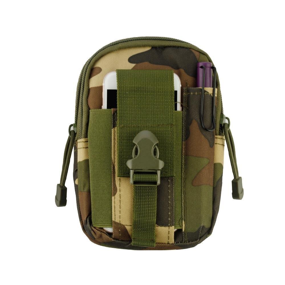 Heavy Duty Canvas Sports Activity Waist Pack Pocket Belt for BLU Vivo X, One, XL3, XL3 Plus, Studio View XL,J8M LTE,Dash L5 LTE (Jungle Camo) + MND Mini Stylus