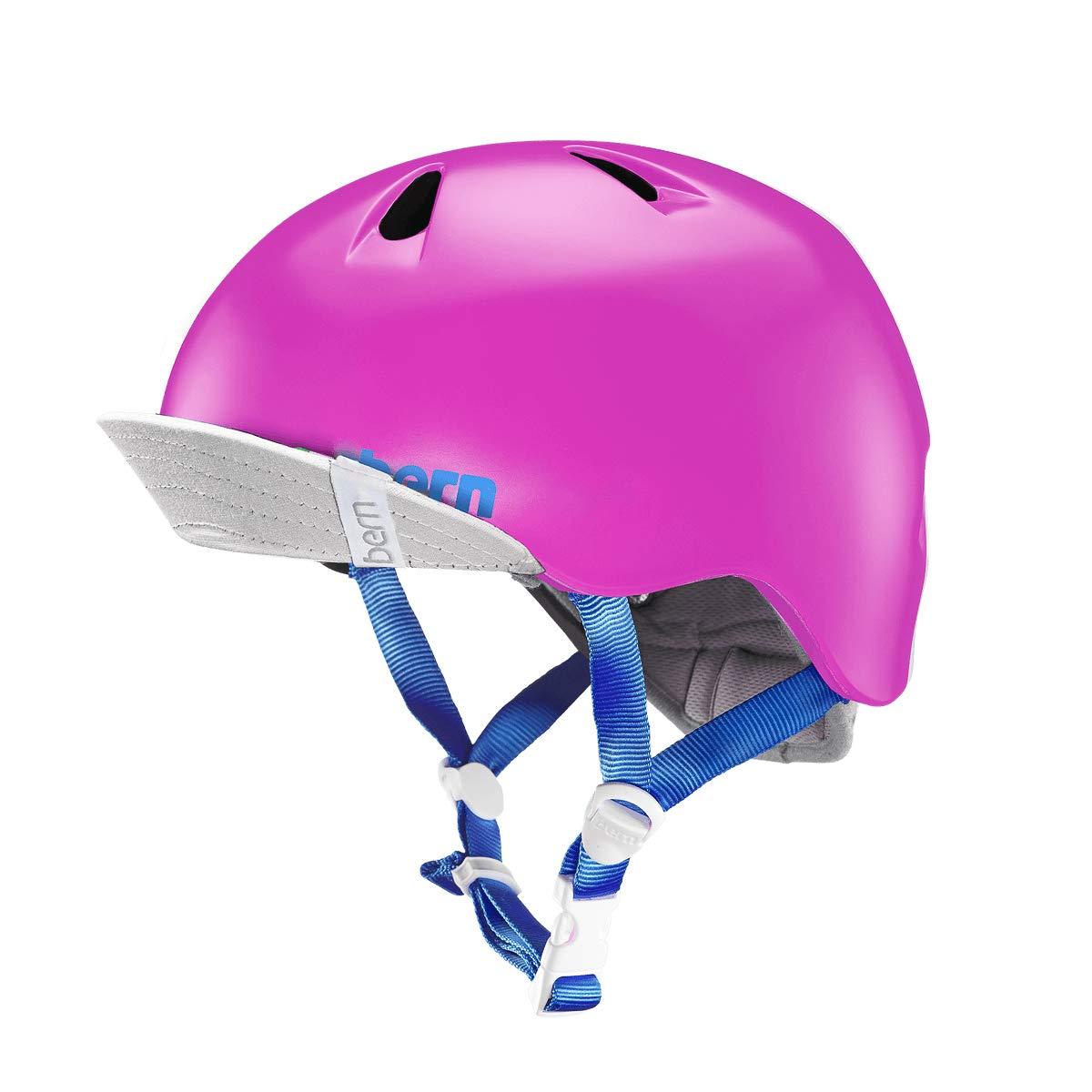 Bern Unlimited Jr. Nina Summer Helmet with Visor (Satin Hot Pink, XS/S)