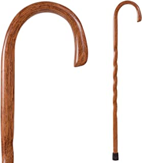 product image for Handcrafted Wood Walking Cane - Made in the USA by Brazos - Twisted Oak Crook Neck Classic - Red