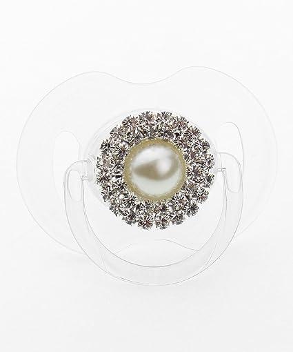 Cristal sueño de lujo crema y plata Rhinestone Pearl chupete ...