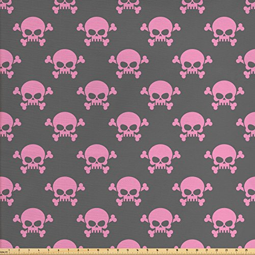 Fabric Halloween Skull Skeleton (Skull Fabric by the Yard by Lunarable, Vivid Pirate Symbol on Pale Background Head of a Skeleton and Bones Halloween Themed, Decorative Fabric for Upholstery and Home Accents, Pink Taupe)