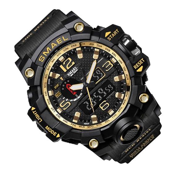 Rosepoem Relojes deportivos Relojes de los deportes al aire libre reloj multifuncional Reloj de cuarzo alarma de reloj cronómetro Oro negro: Amazon.es: ...