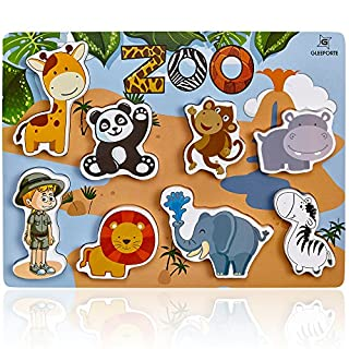 Gleeporte Wooden Chunky Puzzle Zoo Animal Pieces Learning Educational Puzzle Board with Free Standing Pieces for Toddlers & Kids (8 pcs)
