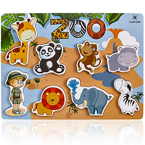 (Gleeporte Wooden Chunky Puzzle Zoo Animal Pieces Learning Educational Puzzle Board with Free Standing Pieces for Toddlers & Kids (8 pcs))