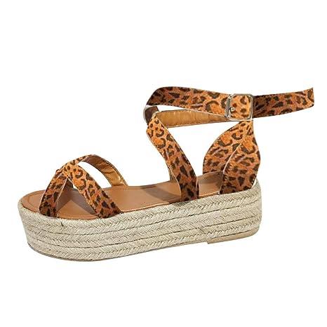 f42fe96adc66b Amazon.com: Copercn Women's Ladies Fashion Leopard Grain Straw Woven ...