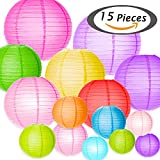 Selizo 15 Packs Paper Lanterns with Assorted Colors and Sizes for Party Decoration