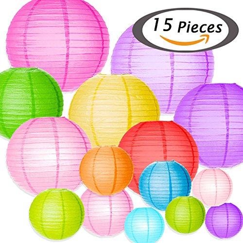 Selizo 15 Packs Paper Lanterns with Assorted Colors and Sizes for Party Decoration Paper Lantern Party Decoration