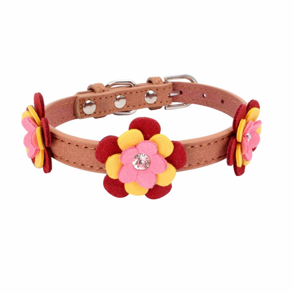 Exquisite Adjustable Woven Diamond Flower Dog Puppy Pet Collars Water Drill Knitted Dog Collar For Small Dogs Cats Cute Collar For Girls And Boys Collar Pet Cat Dogs Puppy Necklace (Brow, S)