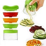 Spiralizer - 3-Blade Hand Held Vegetable Spiralizer, Spiral Slicer Creates Endless Spaghetti Noodles, Vegetable Spiralizer and Cutter, Spiralizer Vegetable Slicer (Green)