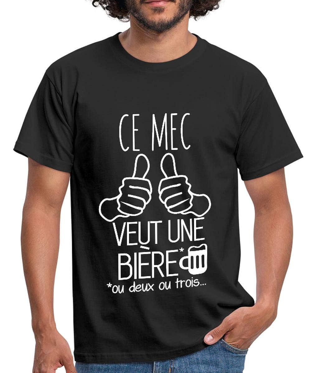Spreadshirt Ce Mec Veut Une Bi/ère T-Shirt Homme