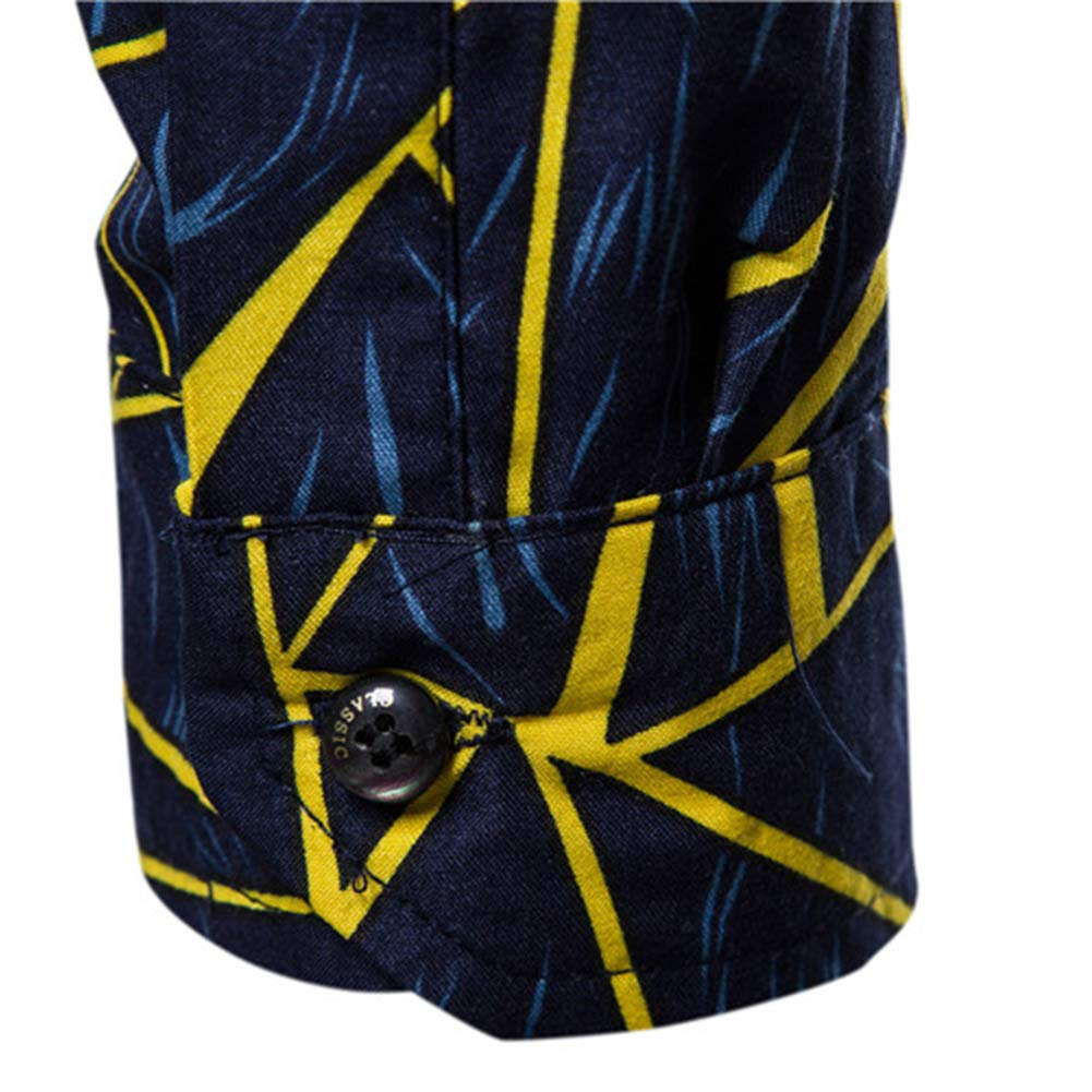 Shirt Men Leisure European Style Geometric Pattern Printing Long Sleeve A,XXXL