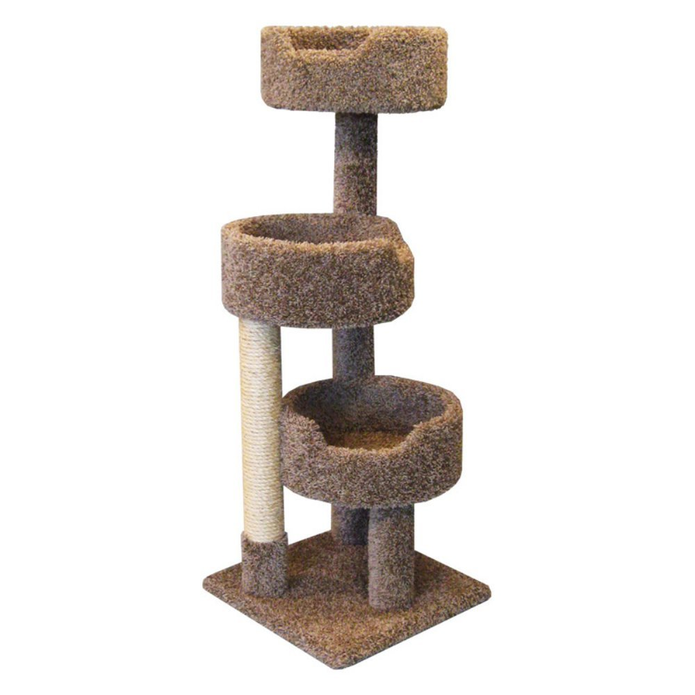 Wooden Cat Tower for Large Cats 52 inch in Brown Carpet Kitty Tree with 3 Large Beds