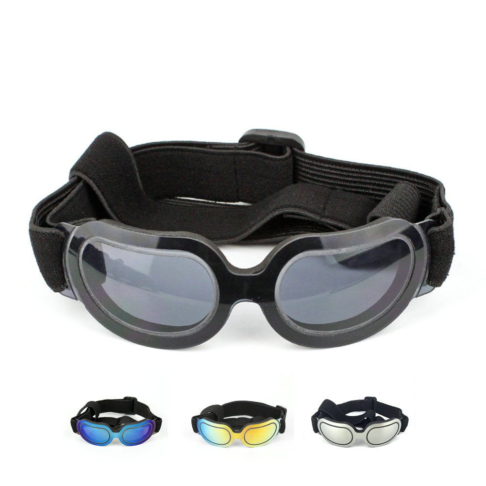 Petvins Doggie Goggles Dog Sunglasses Fashion Pet Eyewear UV Protection Waterproof for Cat Doggy Puppy Small Black