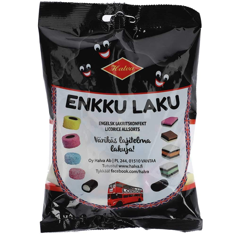 Halva Enkku Laku Licorice Allsorts Bag 240g -Sweets Finnish Licorice