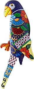 Zcaukya Large Metal Parrot Wall Decor, Vivid Colorful Bird Art Wall Hanging for Indoor Outdoor Home Bedroom Office Garden, 7