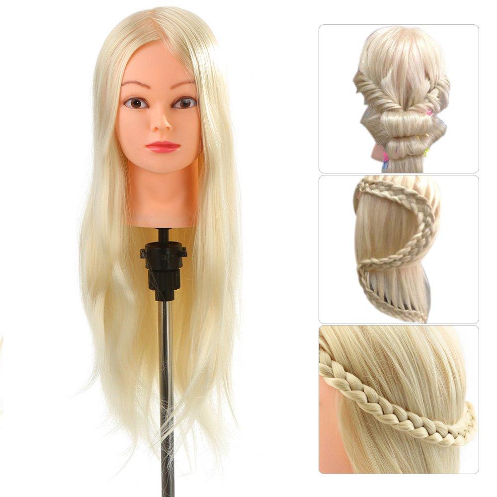 Anself - Testa di manichino con capelli lunghi, 66 cm, 30% capelli umani, colore: biondo chiaro, con supporto, per apprendimento esercitazione di parrucchieri