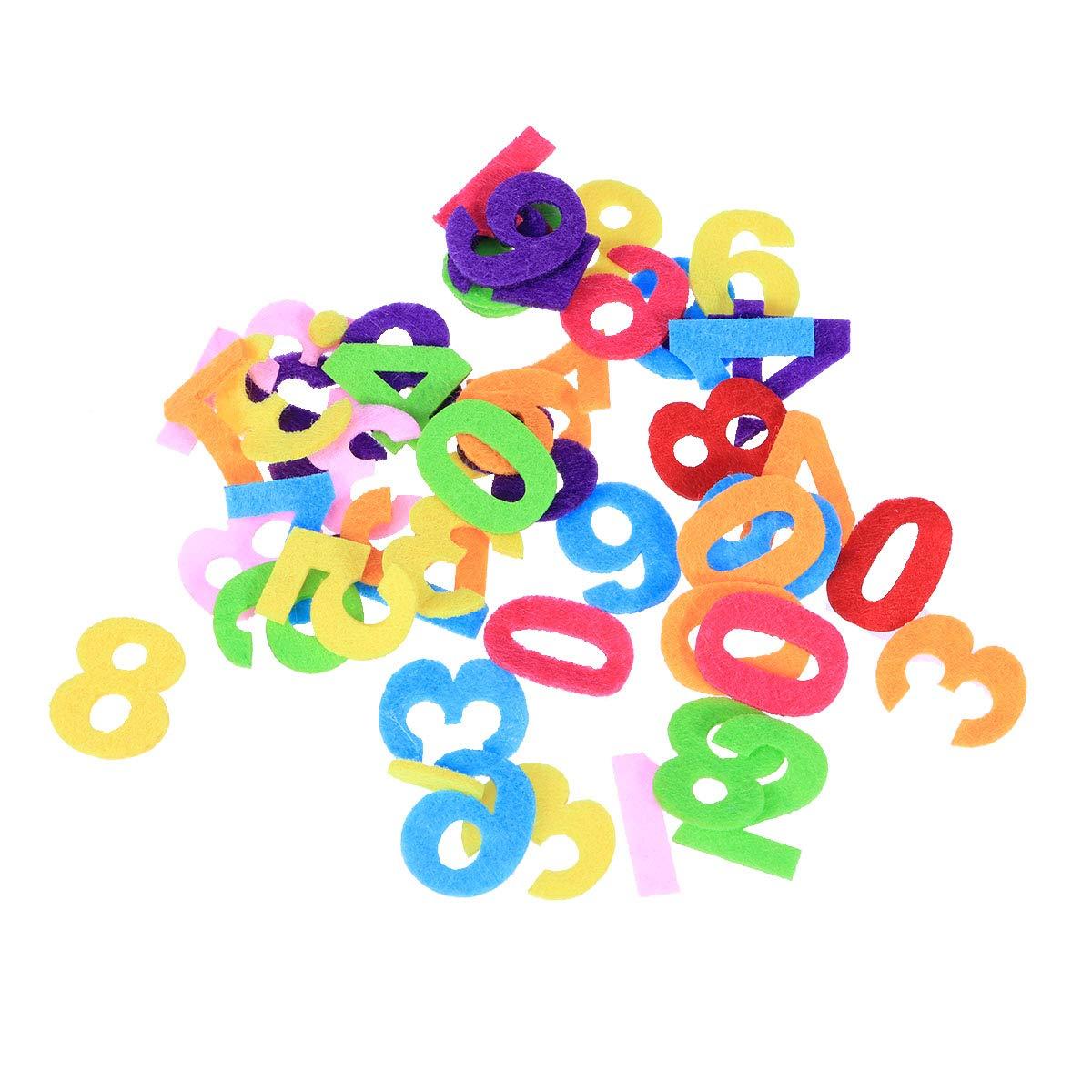 Filz Bastel-Buchstaben und Zahlen 200 Teile bunt gemischt