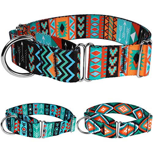 CollarDirect Martingale Dog Collar Nylon Safety Training Tribal Pattern Adjustable Heavy Duty Collars for Dogs Medium Large (Pattern 2, Large, Neck Size 15