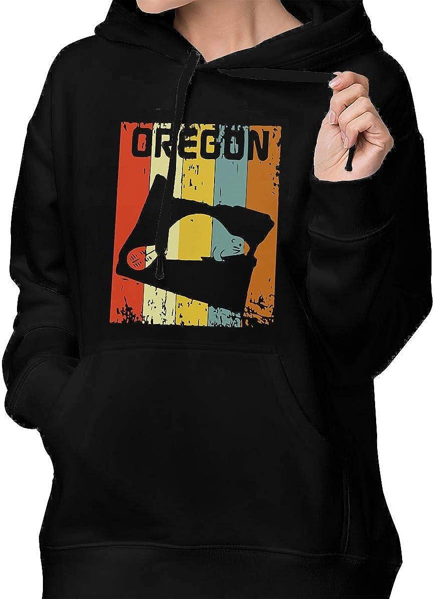Womens Pullover Hoodie Sweatshirt with Pockets Vintage Retro Oregon