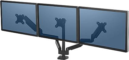 Fellowes - Platinum Series - Soporte de Monitor Triple en Horizontal con Brazo Flexible Ajustable para Colocar la Pantalla a la Altura Adecuada.: Amazon.es: Oficina y papelería