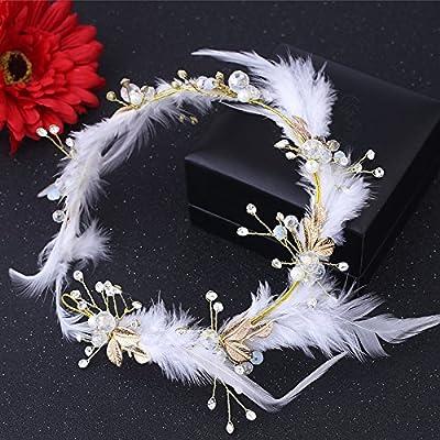 XPY&DGX Accessoires De Cheveux De Mariée En Épingle À Cheveux De Mariage,Coiffe de plumes à la main Super Fairy blanc bijoux de mariée bande de cheveux robe de mariée accessoires
