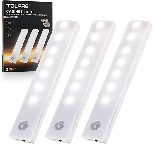 Rechargeable LED Under Cabinet Lighting, Tolare Closet Lights Motion Sensored - Indoor Stick On Lights Wireless with Built-in Battery Night Light Bar for Kitchen, Stairs, Wardrobe, Hallway,3 Pack