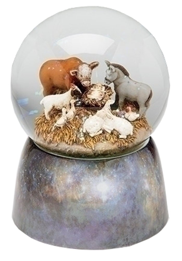 6'' Animal With Babe Glitter Dome 100mm (Sherri Buck) Plays Away In The Manger by Roman