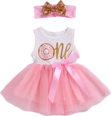 Toddler Baby Girl 1st Birthday Outfit Sleeveless One Donut Print Tutu Dress Headband Set