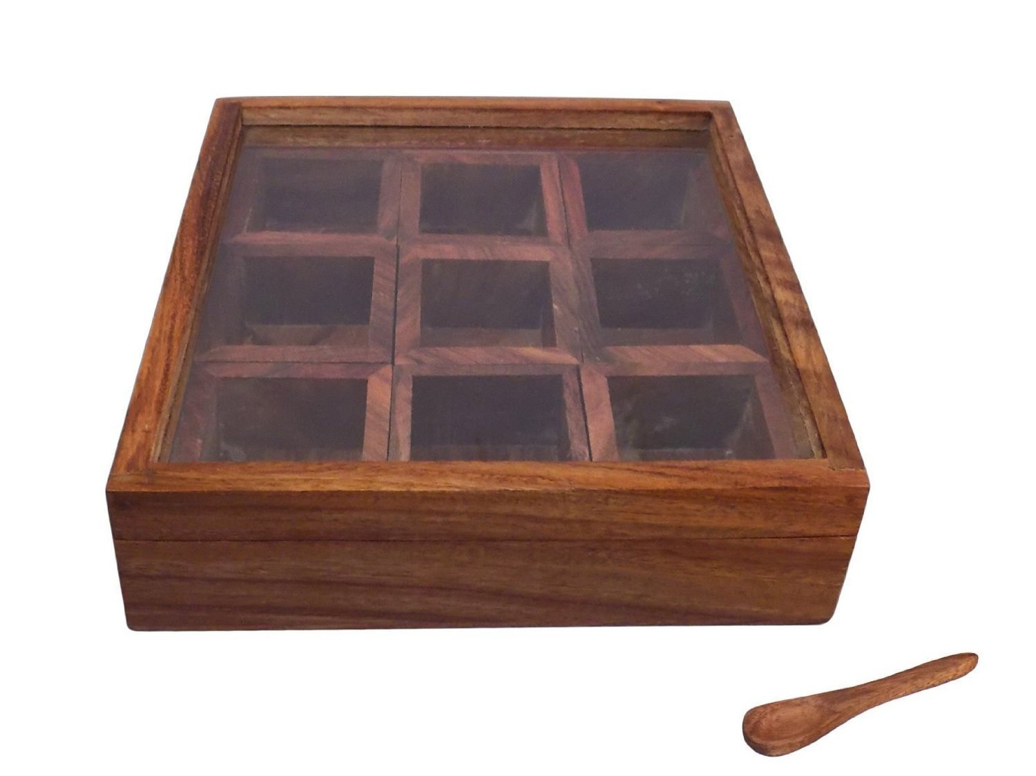 Wooden Hand Crafted Lock Dry Fruit / Masala Box / Container / Spice Box
