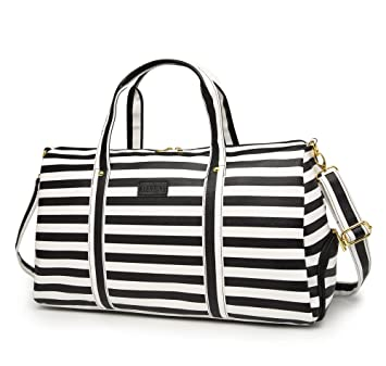 ff3abc2be3ab Elenture Weekender Tote Bag Leather Travel Duffel Bag Overnight Carry Bag  (Black White Stripe