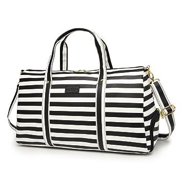 Elenture Weekender Tote Bag Leather Travel Duffel Bag Overnight Carry Bag  (Black White Stripe b23667369e9c0