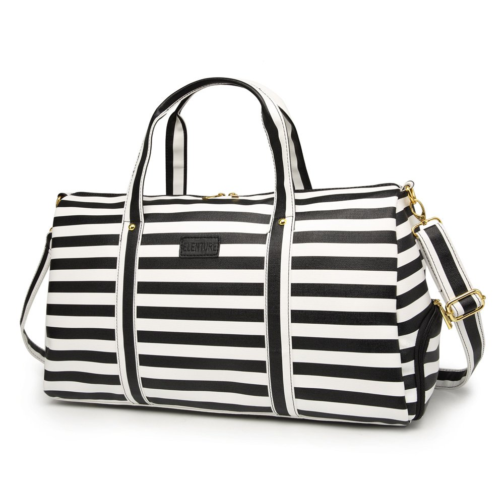 Elenture Weekender Tote Bag Leather Travel Duffel Bag Overnight Carry Bag (Black/White Stripe)