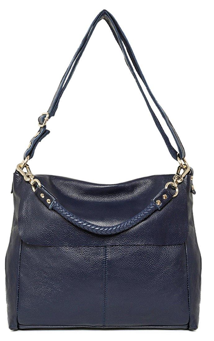Heshe Women Handbags Soft Leather Shoulder Bags Top Handle Bag Cross Body Satchel Ladies Designer Purse Flap Handbag (Blue)
