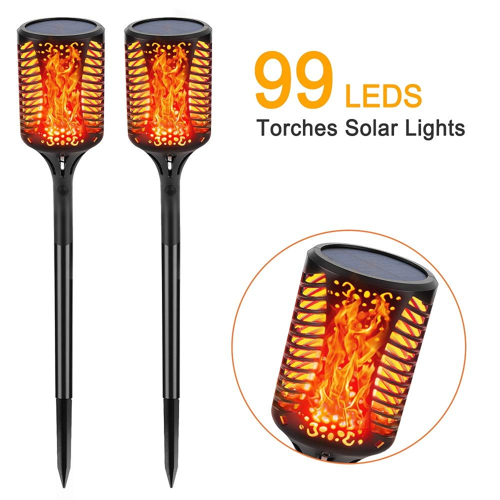 Solar Lights 99 LED Waterproof Flickering Flames Torches Outdoor Solar Lights Spotlights Landscape Decoration Lighting Dusk to Dawn Auto On/Off Security Tiki Torch Light for Yard Pathway Patio 2 Pack