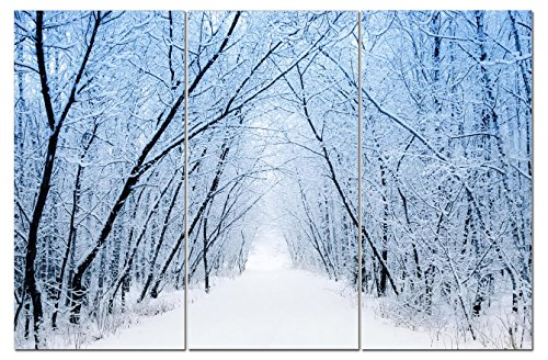 Canvas Wall Art Decor - 12x24 3 Piece Set (Total 24x36 inch) - Snow Filled Forest - Decorative & Modern Multi Panel Split Canvas Prints for Dining & Living Room, Kitchen, Bedroom, Bathroom & Office