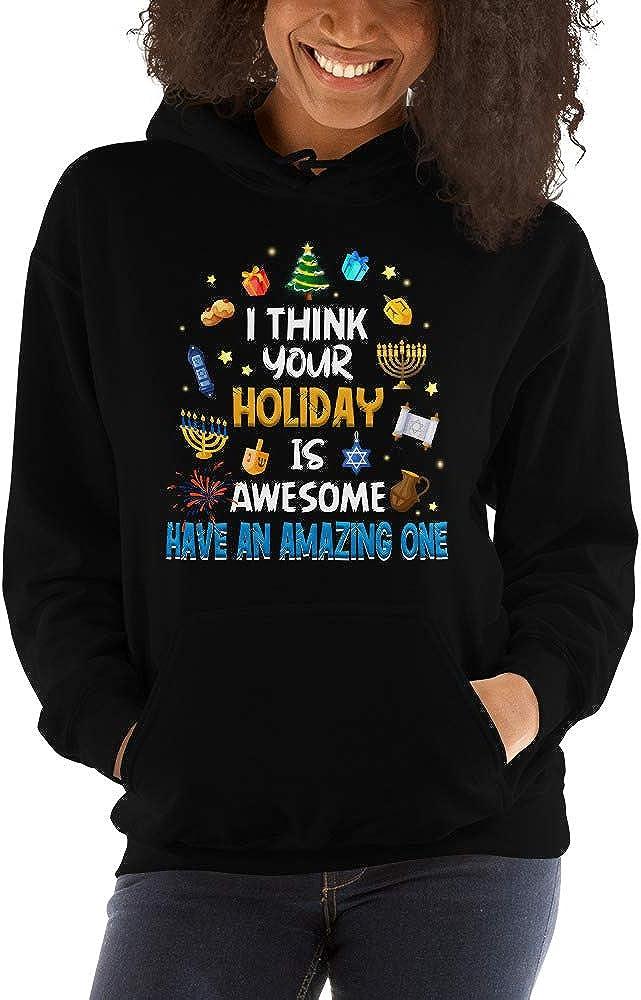 TEEPOMY I Think Your Holiday is Awesome Hanukkah Chanukiah Unisex Hoodie