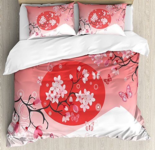 Asian Duvet Cover Set Queen Size by Ambesonne, Japanese Cherry Branches over the Sun with Mountain Reflection Fuji Season Asian Image, Decorative 3 Piece Bedding Set with 2 Pillow Shams, Red (Asian Cherry Bed)