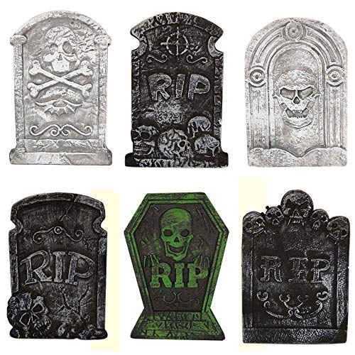 Halloween Decorations Graveyard Tombstones (6 Pack) Headstone Decorations 15