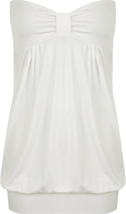 adfd39456d WearAll Womens Plus Size Plain Strapless Sleeveless Ladies Long Boob Tube  Top - Sizes 16-26  Amazon.co.uk  Clothing