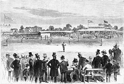 Baseball England 1874 NBase-Ball In England - The Match On LordS Cricket Grounds Between The Red Stockings And The Athletics Engraving 1874 Poster Print by (18 x 24) ()