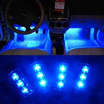 Docooler 4X 3 Led Car Charge 12V Glow Interior Decorative 4 In 1 Atmosphere  Light Lamp