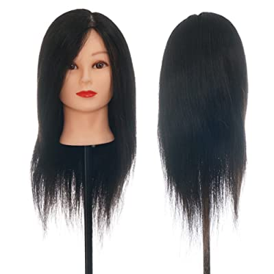 Maniquí de cabeza 100% pelo humano 50cm Negro, Entrenamiento de Cabello Cabezal de Modelo Maniquíes (con soporte) ,para aprendizaje práctica de peluquerías