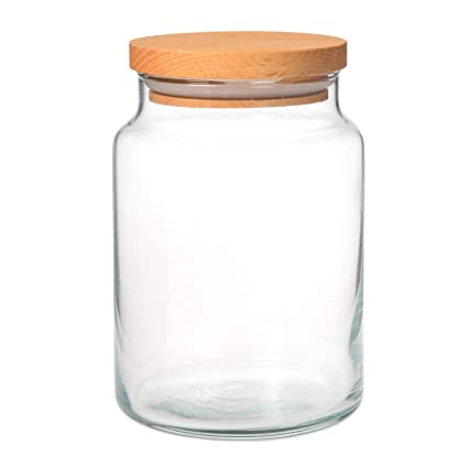 Amazoncom Clear Glass Spice Cookie Jar With Wooden Airtight Lid