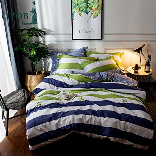 ORUSA Striped Bedding Sets Queen Duvet Cover Sets Multi Colo