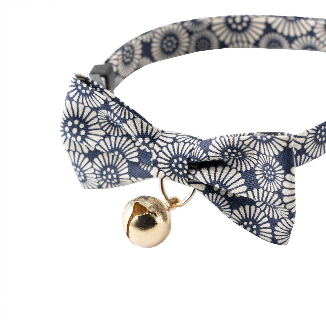 Necoichi Kiku Ribbon Bow Tie Cat Collar (Navy) by Necoichi