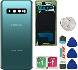 Afeax OEM Original Back Glass Cover Back Door Replacement for Samsung Galaxy S10 Plus with Installed Camera Lens and Repairing Tool & Adhesive All Models (Green)