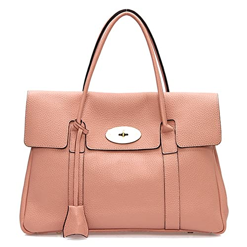 Lux Bays Tote Bag In Pink Genuine Leather Togo Calfskin Womens