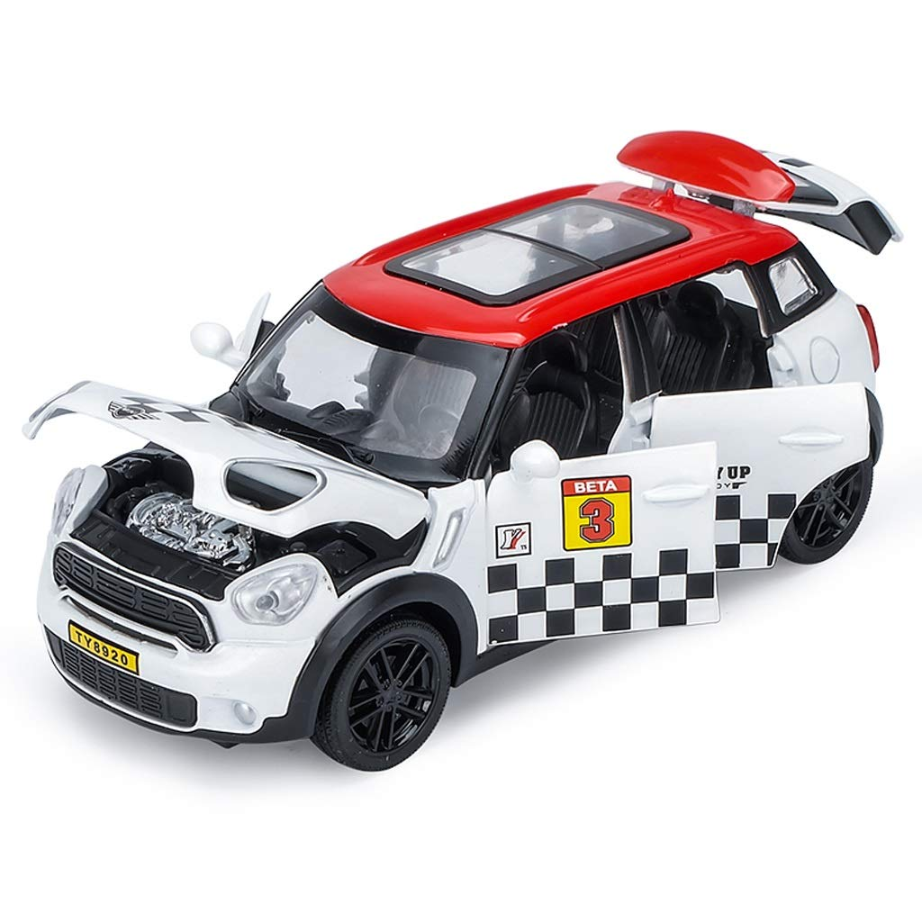 HTDZDX Mini Model (Black) Die Cast Metal and Plastic Parts, Pull Back & Go Action Model Home Decoration Office Crafts (Color : White)